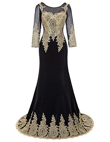 Belle Long Prom Dress - Vestido - ajustado - Sin mangas - para mujer Black(GK0117)