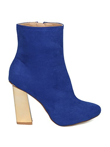 Almond Faux Suede Cobalt Heel HD54 Block Women Bootie Blue Metallic Toe wpT4awdnqE