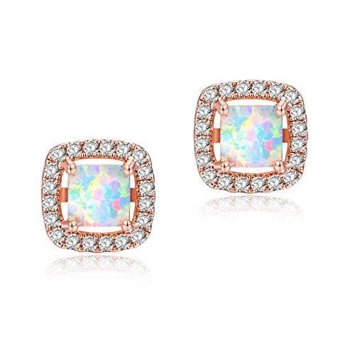 Rose Gold Plated Womens White Opal Stud Earrings Halo CZ 11mm Cushion Cut (Opal Vintage Earrings)