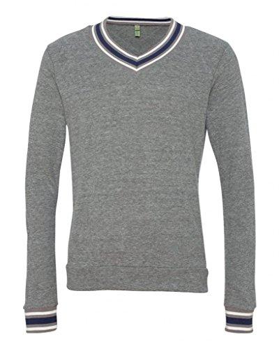 Alternative - Eco Cashmere V-Neck Sweathshirt - Grey/Ivory/True Navy - Medium