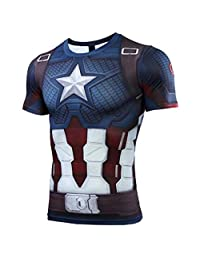 Ampparels New Movie Cosplay Costumes Gym Sports Compression Superhero Long Half Sleeves T-Shirt