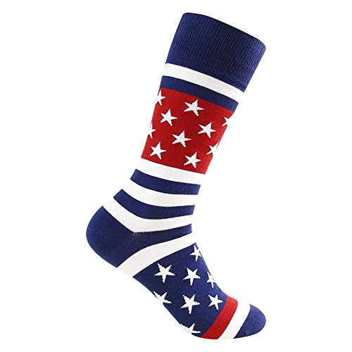 Business Gift Socks, LANDUNCIAGA Men's Mid Calf July Fourth Patriotic American Flag Stars Novelty Cotton Crew Bridegroom Socks,3 Pairs by LANDUNCIAGA (Image #5)