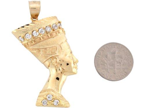 9ct Or Jaune Pendentif Déesse Egyptienne Néfertiti 5.1cm X 3.0cm Serti Zirconias
