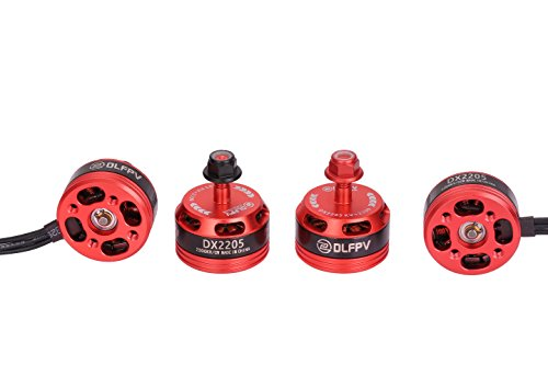 DLFPV RC Brushless Motors DL2205 2300KV with High Premium and Professional Test for FPV Quadcopter Including 2CW & 2CCW- Red 4 pcs