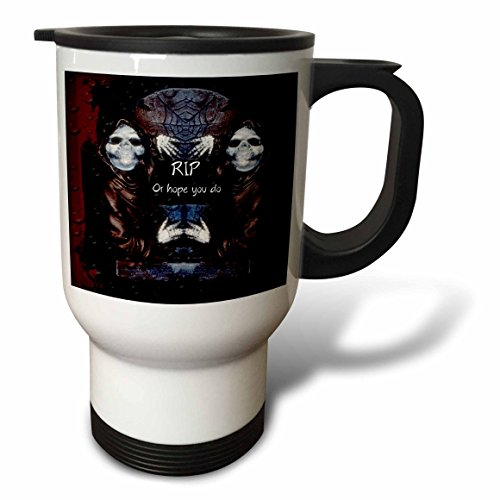 (3dRose ET Photography - Halloween Designs - Grim reaper with tombstone and Halloween saying - 14oz Stainless Steel Travel Mug)