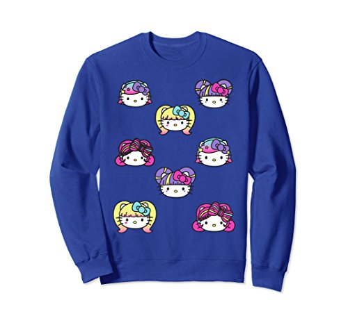 Unisex Hello Kitty Kawaii Hair Styles Sweatshirt XL: Royal Blue (Hello For Kitty Adults Clothes)