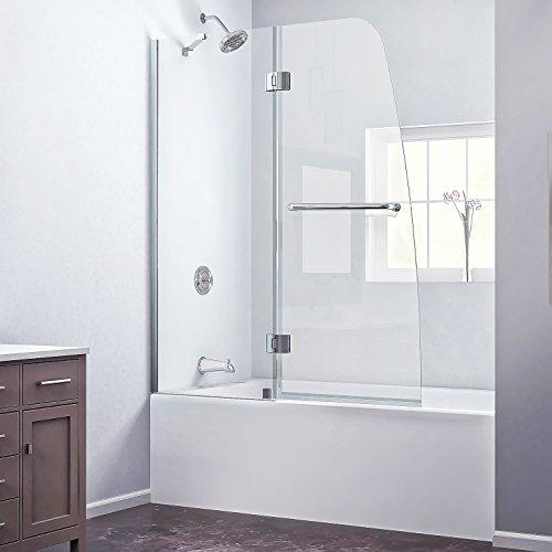 "DreamLine Aqua 48 in. Width, Frameless Hinged Tub Door, 1/4"" Glass, Chrome Finish"