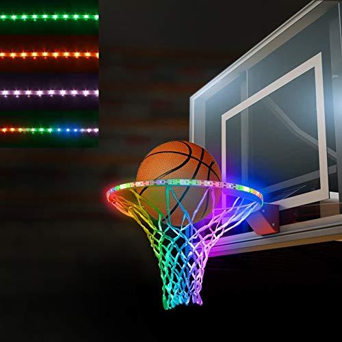 BiMONK Rechargeable LED Basketball Hoop Lighting, Sensor-Activated, Light up Basketball Rim Net Accessories – Night Light, Glow in The Dark Basketball Goal