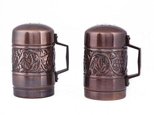 4.25 Antique Copper Embossed Heritage Stovetop Salt & Pepper Set