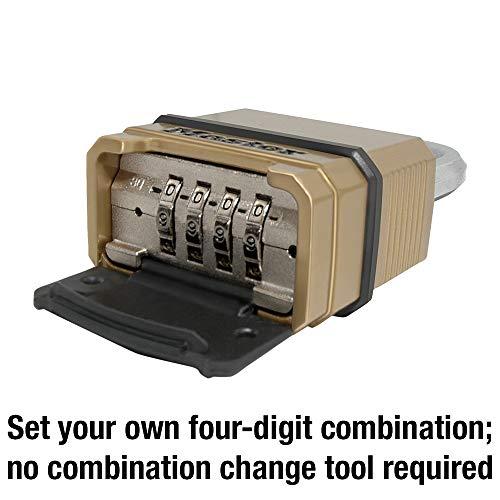 Master Lock M175XDLF Heavy Duty Outdoor Combination Lock, 1-1/2 in. Shackle, Brass Finish