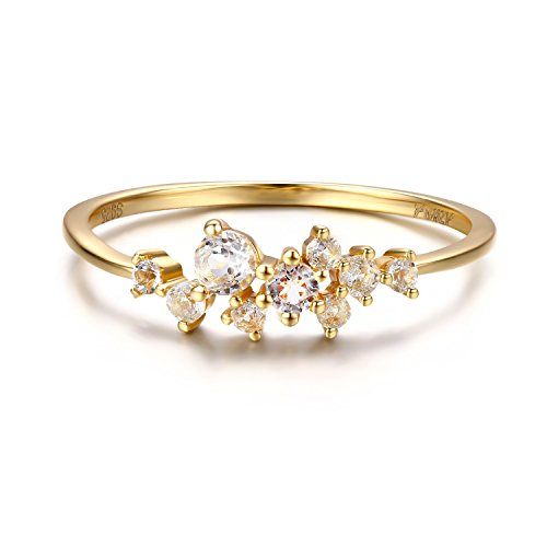 d CZ Cluster Ring for Women in Sterling Silver Dainty Stackable Ring 14K Gold Vermeil (Gold, 7) ()