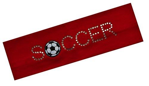 Price comparison product image SOCCER BALL Rhinestone Cotton Stretch Headband ~ Funny Girl Designs (Red)
