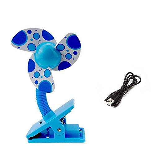 (Ruiqas Mini USB Fan Portable Safety Clip-on for Buggy Baby Pram Stroller Cots Summer (Color : Blue))