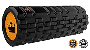 King Athletic Foam Roller for Muscles Exercise and Myofascial Massage :: Physical Therapy, Grid Textured Fitness Rollers Best For Stretching, Tension Release, Pilates & Yoga - Black