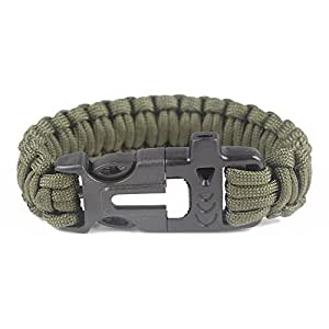 Baigeda Outdoor Emergency Survival Whistle Kit Nylon Paracord Buckle with Flint Fire Starter Striker Tactical Equipment Multifunctional Lifesaving Bracelet Gear (Army Green)