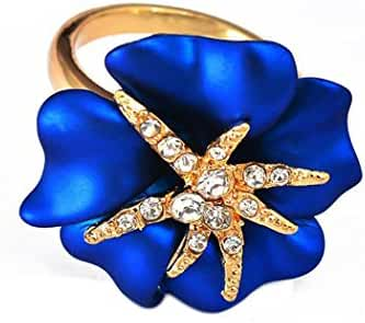 SUNSCSC Yellow Gold Plated GP Blue Flower Sea Fish Starfish Crystal Cocktail Band Ring