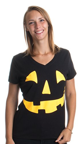 Glow in Dark Jack O' Lantern | Halloween Pumpkin Costume Women's V-neck (Womens Halloween Costume Shirts)