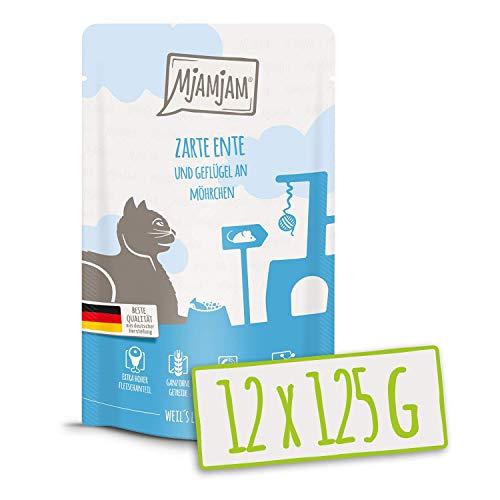 MjAMjAM – Premium Nassfutter für Katzen – Quetschie – zarte Ente & Geflügel an leckeren Möhrchen, 12er Pack (12 x 125 g…