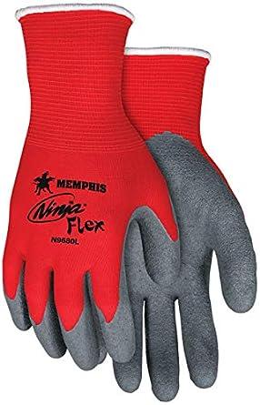 MCR Safety N9680M Ninja Flex Glove, Medium, Red/Gray (Pack of 12)