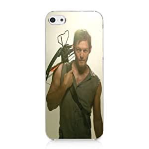 CRHK? The Walking Dead Daryl Dixon Printing Clear Back Skin Snap on Case Cover for 2013 Apple iPhone 5C + Screen Protector + CRHK stylus