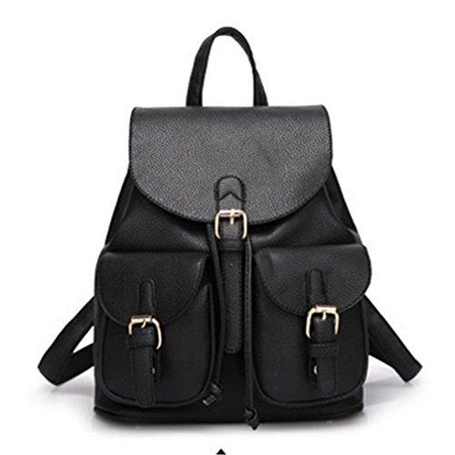 Las mujeres Cuero Negro Chica Bolsa de viaje mochilas escolares mochilas escolares Candy Color rosa Negro