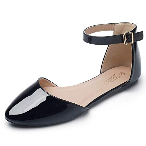 - SANDALUP Pointy Toe Flats with Adjustable Ankle Strap Buckle for Women Black Patent 11