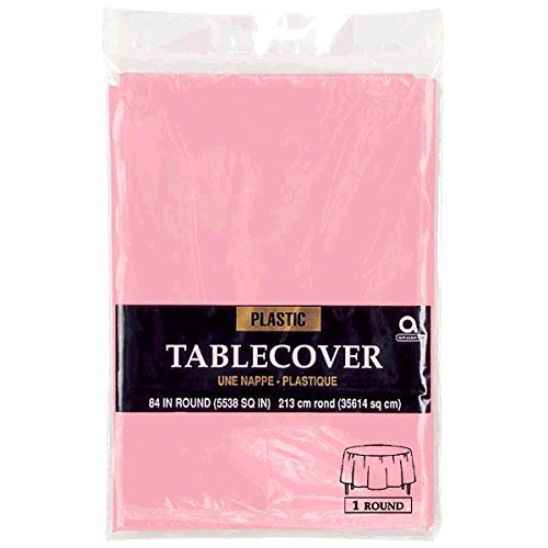 - Amscan New Pink Round Plastic Table Cover | Party Tableware