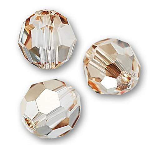 (50pcs x Preciosa Round Crystal Beads 6mm Golden Shadow Compatible with Swarovski 5000 Crystals Pre2R628)