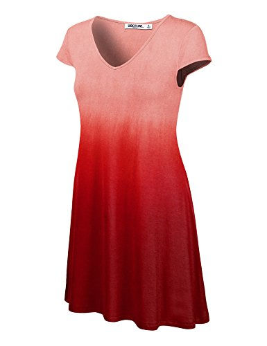 WDR1089 Womens Ombre V Neck Cap Sleeve T Shirt Dress M Wine