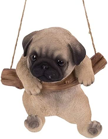 Amazon Com Pacific Giftware Realistic Pug Puppy Hanging From Branch Rope Hanger Statue Home Kitchen