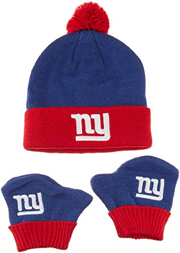 OTS NFL New York Giants Pow Knit Cap & Mittens Set, Royal, Infant -