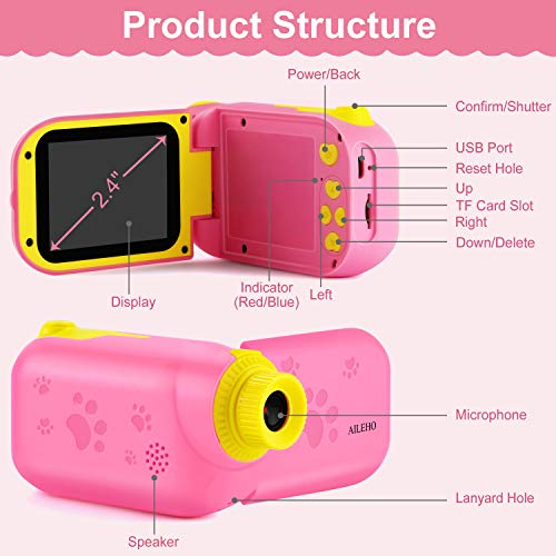 AILEHO Kids Camera for Girls Digital Video Camera for Kids Birthday Children Toys 3 4 5 6 7 8 9 Years Old Toddler Camera 8M 1080P with 8GB Card Game Camera Rechargeable IPS 2.4\