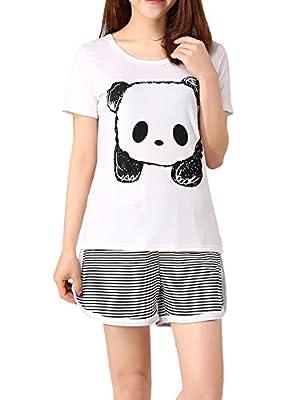 VENTELAN Women Pajama Set Cute Panda Pattern Short Sleeve Striped Shorts Sleepwear