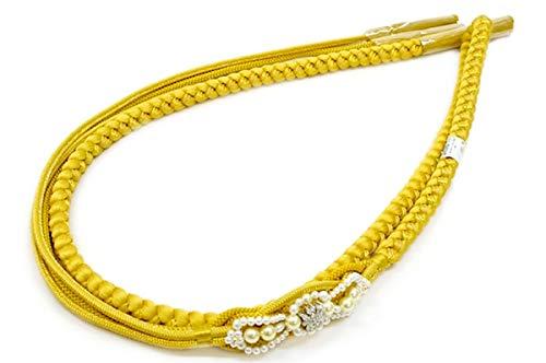 帯締め 黄色 イエロー 金色 フェイクパール ラインストーン 正絹 組紐 撚り房 成人式用 振袖用 和装小物 日本製