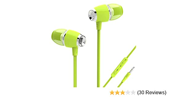 Amazon Com Uiisii U5 Earbuds With Microphone And Volume Control Music Headphones With Tangle Free Flat Cable Green Musical Instruments