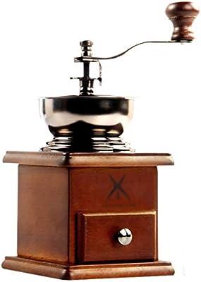Cafetera época triturador manual de café, acero inoxidable, madera ...