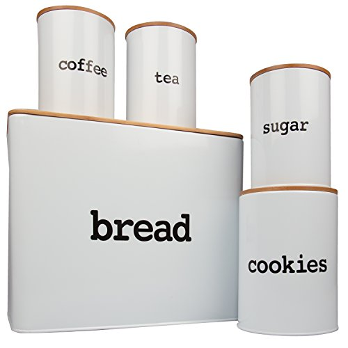 Bread Box (Extra Large) and 4 Piece Kitchen Canister Set w Bread Cutting Board- Deluxe Food Storage Containers with Air Tight Bamboo - Bread Canister