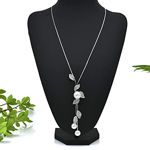 Multilayer Pearl Crystal Leaves Pendant Necklace Sweater Chain Women Jewelry Hot]()