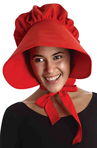 [Forum Novelties Women's Colonial Bonnet Costume Accessory, Red, One Size] (Halloween Costume Little Red Riding Hood)