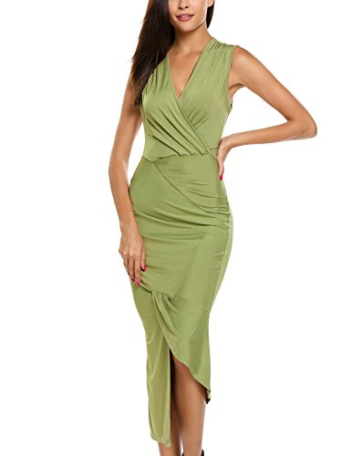 Bodycon Neck Ruched Asymmetrical Sleeveless ANGVNS Army Surplice Green Dress XIqw5xxtA