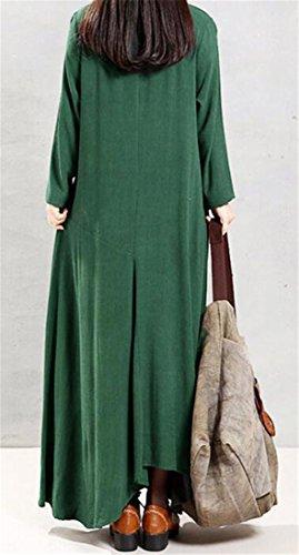 Verde A Formato Equipaggio Pendolo Lunghe Maniche Collo Grande Delle Cromoncent Grande Maxi Vestito Casuale Donne Biancheria 7Tn5UX