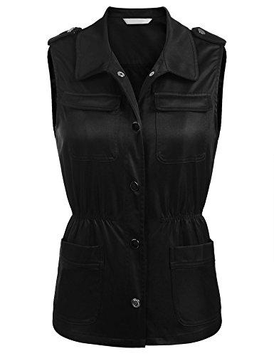 Concep Safari Vest for Women Sleeveless Lightweight Jacket Military Utility Vests Plus Size (Black, L) ()