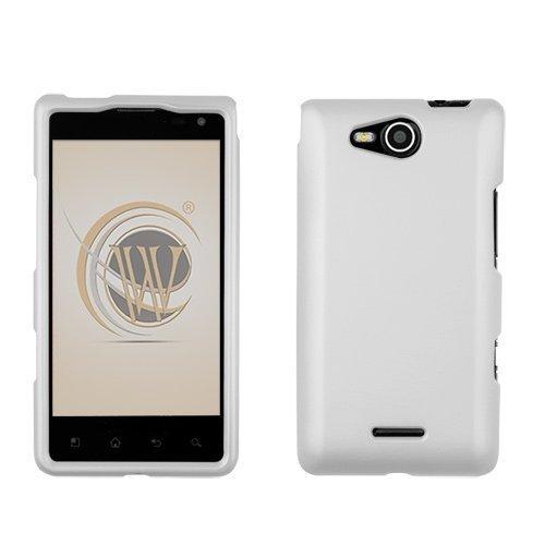 White Rubberized Hard Case Protector Phone Cover for LG Lucid (VS-840) Verizon Wireless