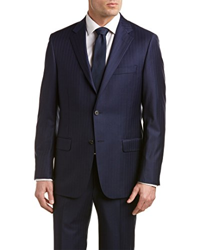 Hickey Freeman Mens Milburn II Wool Suit With Flat Front Pant, 44L, - Mens Hickey Freeman Suits