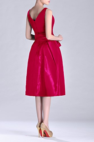 Taffeta Formal Dress bridesmaids Pleated A Fuchsia neck Modest V Tea Bridesmaid Length line rPqArZ0