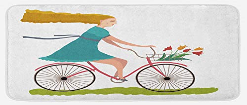 Ambesonne Bicycle Kitchen Mat, Young Woman on Bike with Basket of Tulip Flowers Riding in The Spring Countryside, Plush Decorative Kithcen Mat with Non Slip Backing, 47 W X 19 L Inches, Multicolor