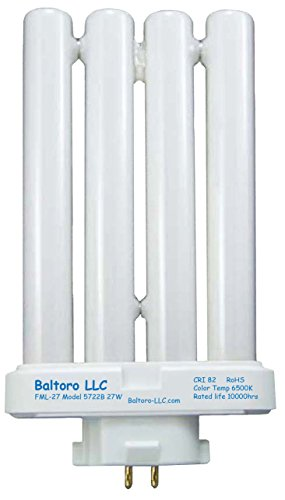 Baltoro Power FML27/50 Linear Quad Compact Fluorescent (CFL) Replacement Bulb for Sunlight Desk or Floor Lamps FML27/EX-D FML27EX/N, 27W Compact Fluorescent Desk Lamp