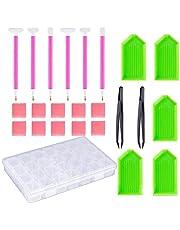 Aibecy Conjunto de ferramentas de pintura com diamante DIY Caneta Cola Conjunto de bandejas de plástico Bordado Acessórios de costura ponto cruz 24 peças