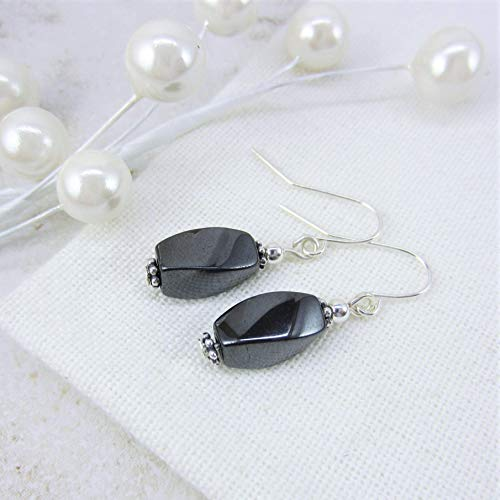 Hematite Earrings Dangle Drop, Dark Grey Earrings, Gunmetal Earring, Gifts for Women Mother's Day