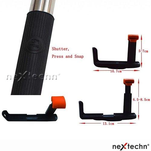 nextechn black extendable aux cable take pole handheld stick selfie monopod. Black Bedroom Furniture Sets. Home Design Ideas